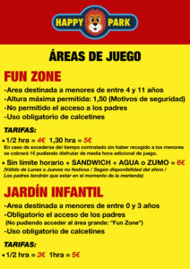 cartel areas de juego HAPPY